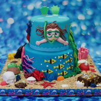 "Snorkeling Cake 6"" vanilla cake and 8"" lemon cake, both with vanilla buttercream filling. Cakes are covered and decorated with fondant. I love..."