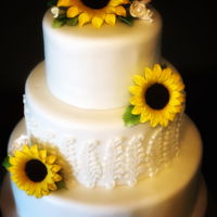 Sunflower Wedding Cake Gum paste sunflowers and fondant cake