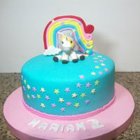 Unicorn Cake rainbow and unicorn are made of gum paste