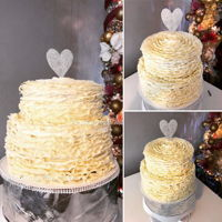 White Buttercream Wedding Cake VANILLA BUTTERCREAM CAKE,RUFFLES TIP 104