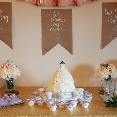 Bridal Shower Wedding Gown Cake & Bridesmaids Cookies