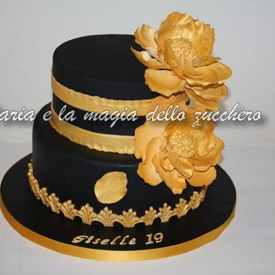Gold Magnolia Flower Cake