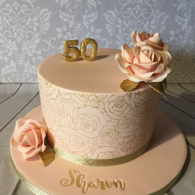 Peach And Gold Rose Cake