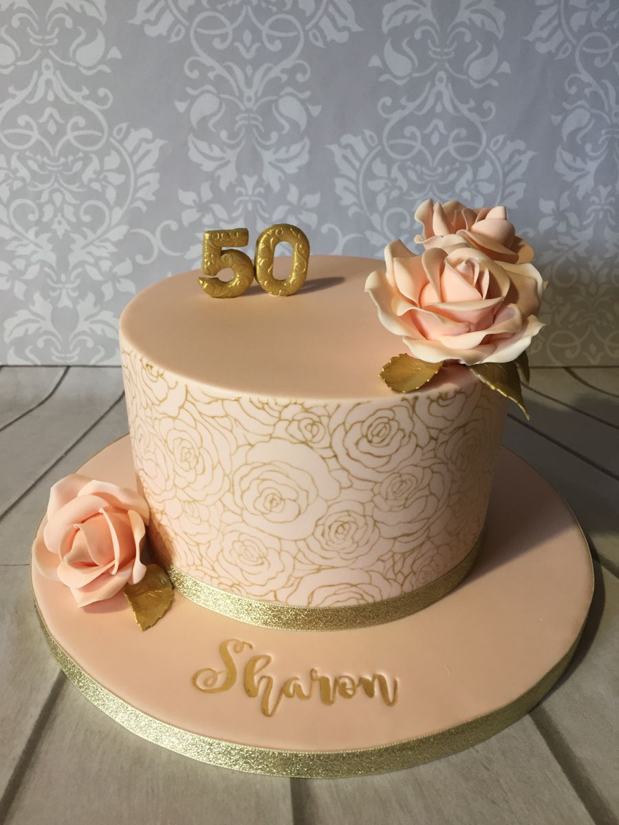 Peach And Gold Rose Cake on Cake Central