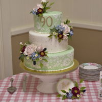 90Th Birthday 13-, 10-, and 7-inch round, Flowers are gumpaste and made to match invitations and table centerpiece.