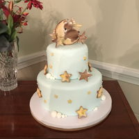 Baby Shower Sleeping Bear 2 tier fondant with cookies
