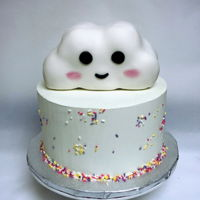 Baby Sprinkle Party Rice crispy 3D cloud cover with fondant Meringue buttercream