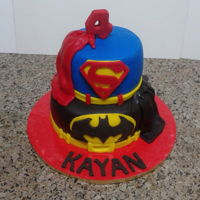 Batman, Superman Cake 2 tier chocolate cake covered in fondant