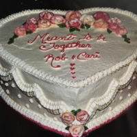 "Bridal Shower Heart 12""x4"" all buttercreamed heart Flowers are air-dried b'crean"