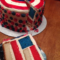Captain America Used White cake and food coloring, for inside, covered with butter cream, shield made from fondant.