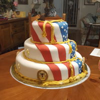 Eagle Scout Inside of top layer was made to look like the American flag, eagle is cake topper.