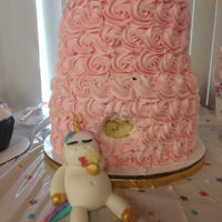 Fat Unicorn Cake 2 tier fat unicorn cake. The bottom tier is vanilla, the top tier is chocolate. The whole thing is filled and frosted with buttercream....