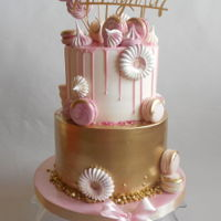 Gold And Rose Cake Birthday girls cake