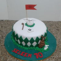 Golf Cake vanilla cake covered in fondant, decorations are gum paste
