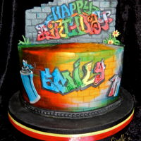 Graffiti Cake Graffiti cake in buttercream without a spray gun. I used a few different colours and had some wilton red and black spray to achieve the...