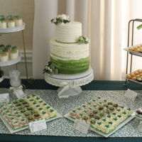 "Greenery Themed Baby Shower Un-Baby Baby Shower with a ""greenery"" theme. Dessert display included: Cake was 9"" double barrel chocolate cake 8"" tall..."