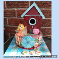 Happy Birthday Samantha Daughter's birthday cake. Paper mache birdhouse with a garden fairy keeping guard.