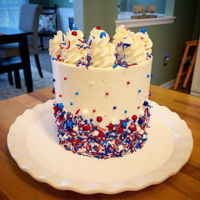 Memorial Day Cake Red velvet and funfetti cake with Italian Meringue Buttercream