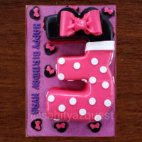 "Minnie Mouse Theme Numbered ""3"" Minnie Mouse Theme ""3"" Letter Cake Edible Ribbon and Mini Minnie Heads (Fondant) . Baked 14 by 9 Red Velvet Cake with Buttercream..."