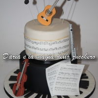 Music Cake ... The themed cake I made for my school's three-year end-of-school dinner, musical address.The cake represents the 4 instruments that...