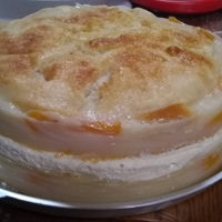 "Peach Cobbler ""cake"" My niece asked me to make peach cobbler for her. Since it was her birthday, I made it look like a cake. This was my mom's recipe, but..."