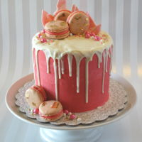 Pink And White Drip Cake Six inch round in buttercream with ganache drip and Macarons.