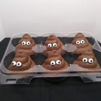 """poop On Cancer"" Swirls These were a Relay for Life donation. They're tempered chocolate with copycat Reese's filling."