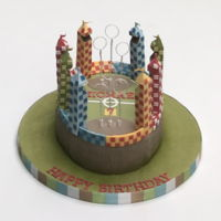 Quidditch Pitch Made this for a little friend who is a Big Harry Potter fan, it was a chocolate cake, made the stands with Fondant which had CMC added for...