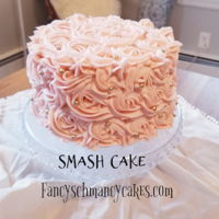 Rosette Smash Cake 6inch, 2 layer. Vanilla with Strawberry SMBC and White Chocolate Mousse fill. Matched bday cake.