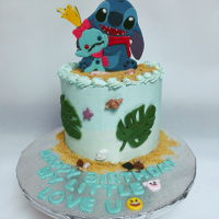 Stitch And Scrump Love Birthday Cake Buttercream cake with fondant decoration