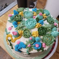Succulent Cake Helped my friend decorate a succulent cake for her sister. The cakes broke a bit when she was stacking it, so it's a bit lopsided, but...