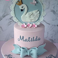Swan Cake Pretty pink and grey swan cake with a custom made fondant cake topper and fondant bow for a first birthday. Such a lovely cake to make! I&#...