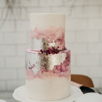 The Pink And Silver Lining Cake done for a photoshoot. Watercolor and silver leaf