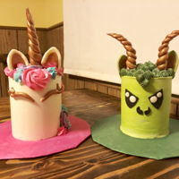 Unicorn And Dragon! Matching unicorn and dragon cake for a twins birthday!