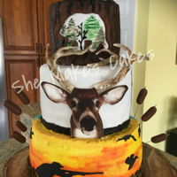 Wild Game Party 2019 This tall heavy 360 degree cake was made for friend who's a huge hunter and fisher and hosted a wild game party. The buck is an...