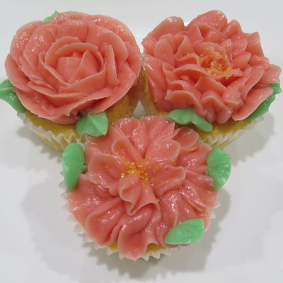 Pink Rosette Cupcakes