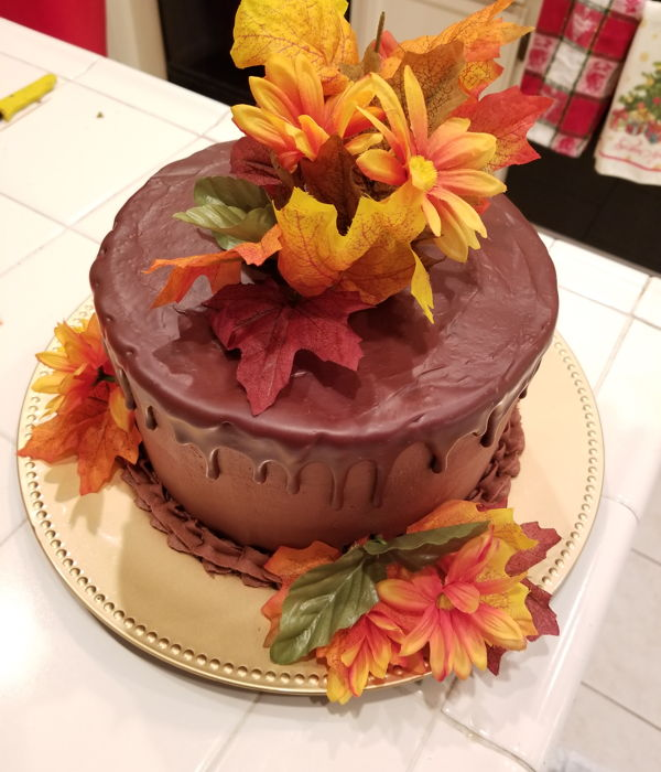 Chocolate Cake With Fall Flowers
