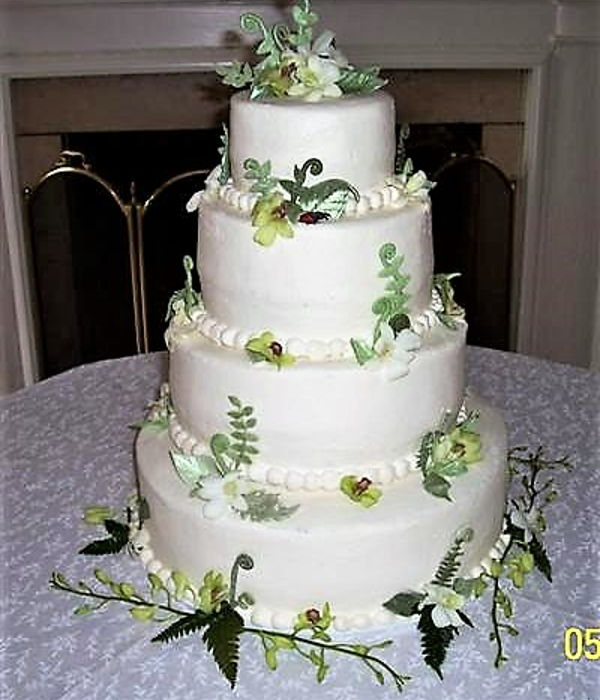 Orchids And Ferns Wedding Cake