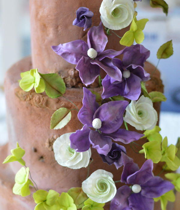 Woodland Wedding Cake With Violet Clematis And Lime Green...