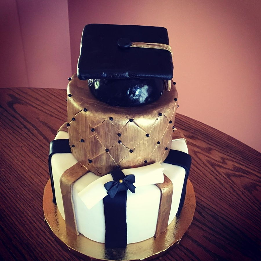 Black & Gold Graduation Cake on Cake Central