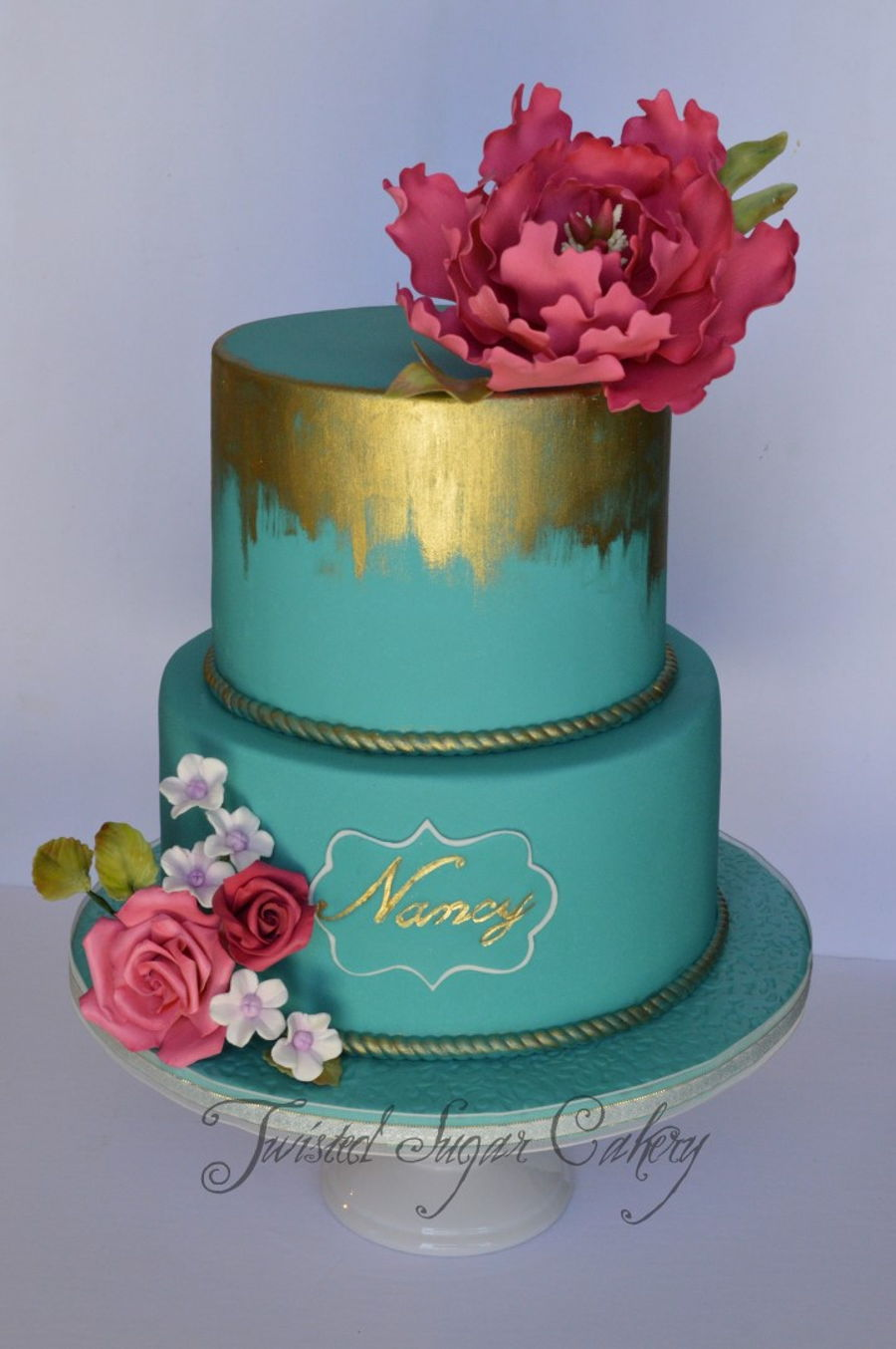 Pink Peony On Teal on Cake Central