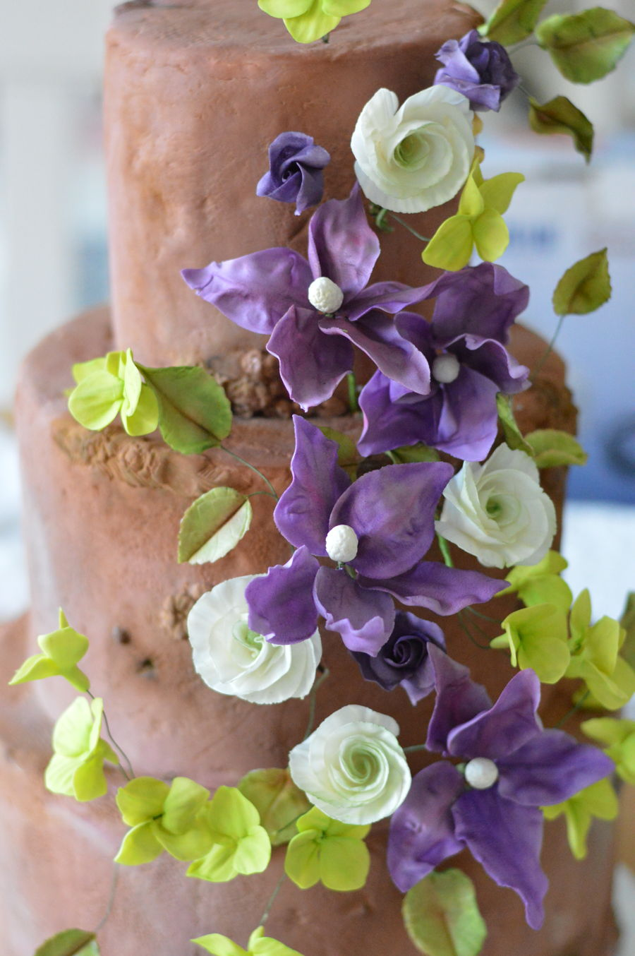 Woodland Wedding Cake With Violet Clematis And Lime Green Hydrangeas on Cake Central