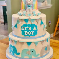 Baby Shower Cake 2 tiered vanilla and chocolate cake with vanilla buttercream; custom fondant topper