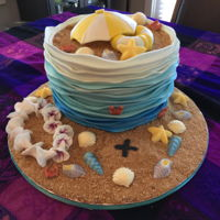 Beach Cake I made this cake for my Granddaughters birthday. The cake was a chocolate fudge cake with a raspberry puree, and two kinds of buttercream -...