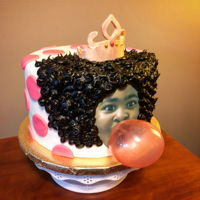 Bubble Gum Girl Cake Chocolate WASC with chocolate American buttercream. Fondant, edible image and gelatin bubble.