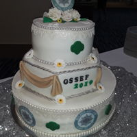 "Gs Silver Award Cake This cake was made for a celebration for the Girl Scout Silver Award. 8""-12-""16"" Vanilla cake w/vanilla buttercream (both my..."