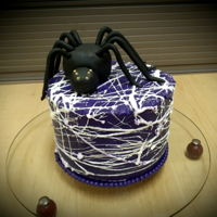 Halloween Cake Little 6'' lemon cake with raspberry swirls, then frost with vanilla smbc. Spider web is made with melted marshmallow (man, this...