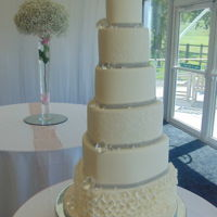 Heart Shaped Wedding Cake 6 tier frill and crystal heart shaped wedding cake