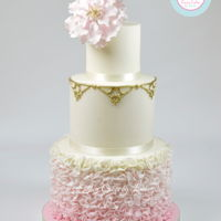 Pink Peony & Ruffles Romantic wedding cake design. Beautiful large open pink peony with pretty ombre pink ruffles. Love this cake! Checkout my video peony and...