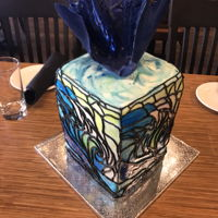 Stained Glass Stained glass cake with blue wave